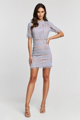 BRENDA LACE DRESS in colour WINTER SKY