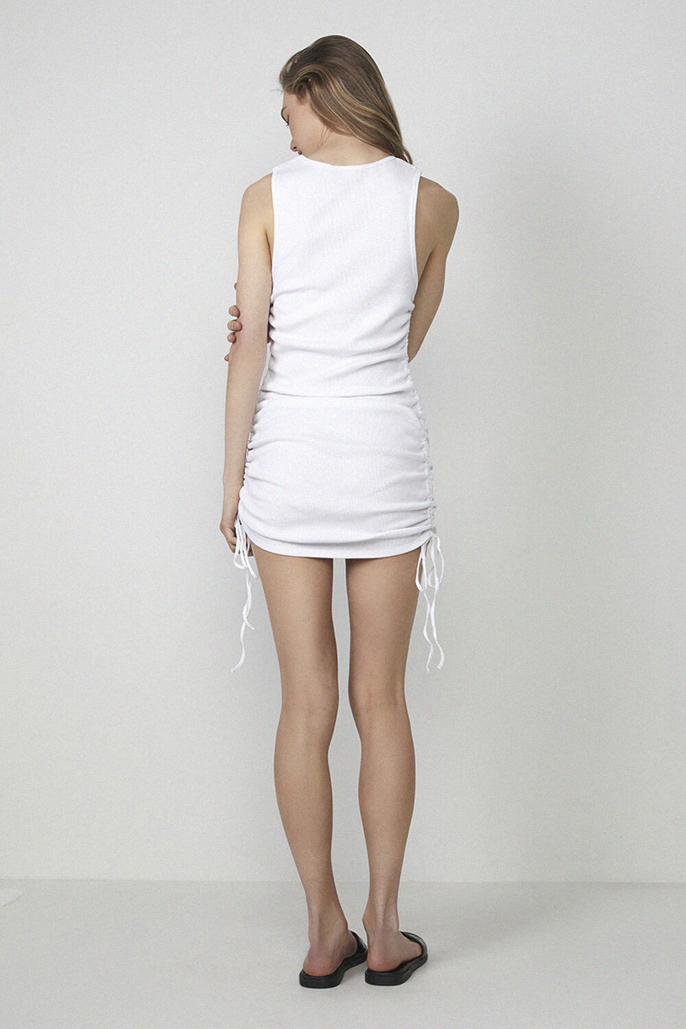 ROUCHED SIDE DRESS in colour CLOUD DANCER