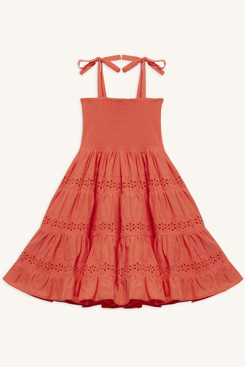 ELSA TIERED DRESS in colour MANDARIN RED