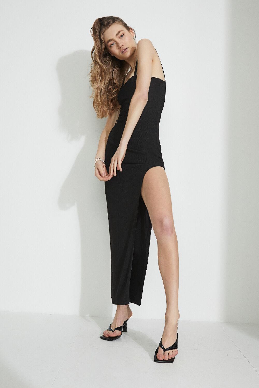 HIGH SPLIT KNIT DRESS in colour CAVIAR