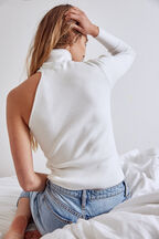 ASYMMETRIC LONG SLEEVE KNIT in colour CLOUD DANCER