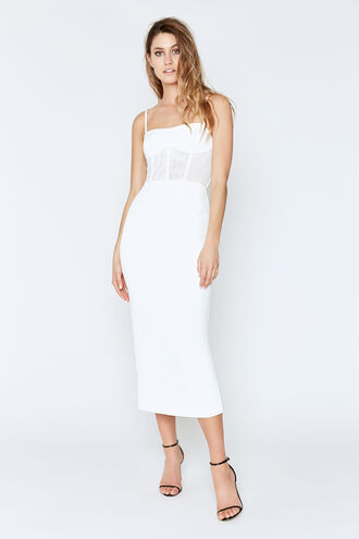 ROBERTA MIDI DRESS in colour CLOUD DANCER