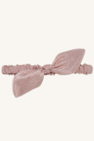 NOLA SHIMMER BOW HEADBAND in colour PINK CARNATION