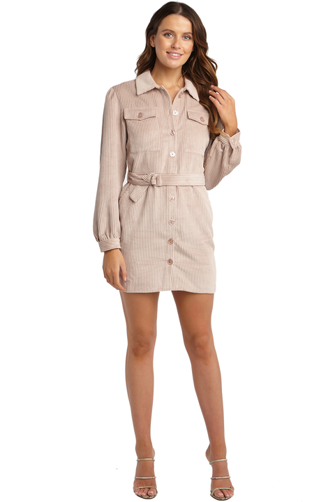 CORD SHIRT DRESS in colour PALE DOGWOOD