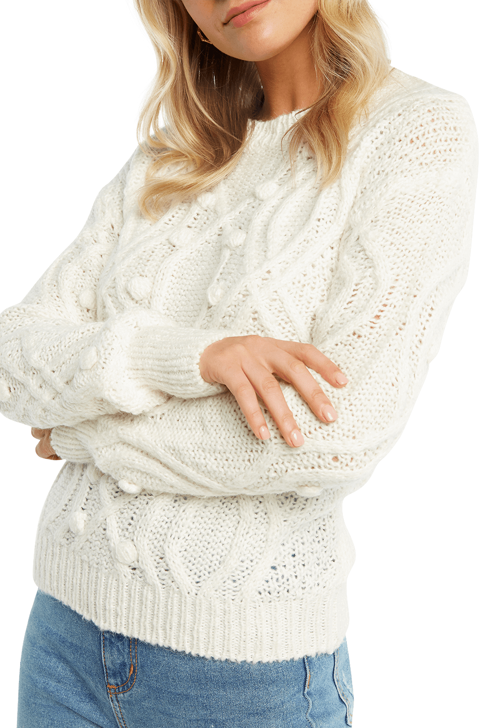 POM POM CABLE KNIT in colour CLOUD DANCER