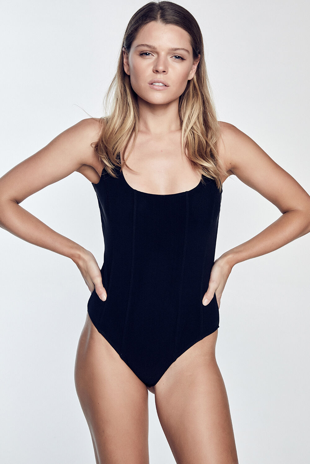 MIRA BODYSUIT in colour CAVIAR