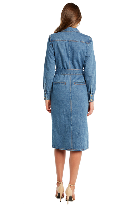 DENIM SHIRT DRESS in colour TRUE NAVY