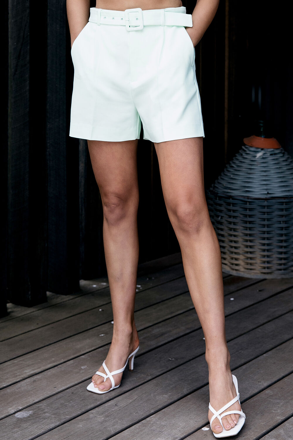 PARISIENNE SHORT in colour DUSTY AQUA
