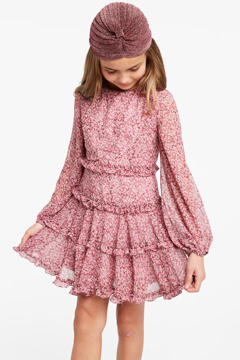 FLORAL FRILL DRESS in colour WILD ORCHID