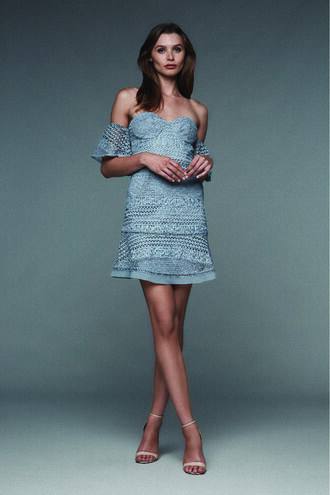 LUCILLE LACE DRESS in colour ASHLEY BLUE