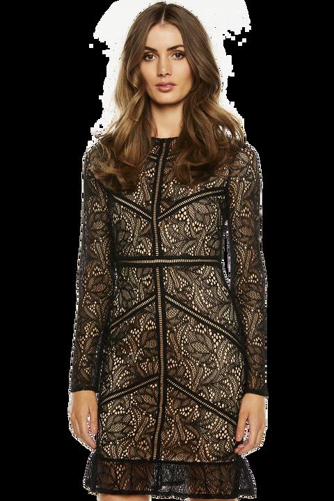 SASHA LACE DRESS in colour CAVIAR