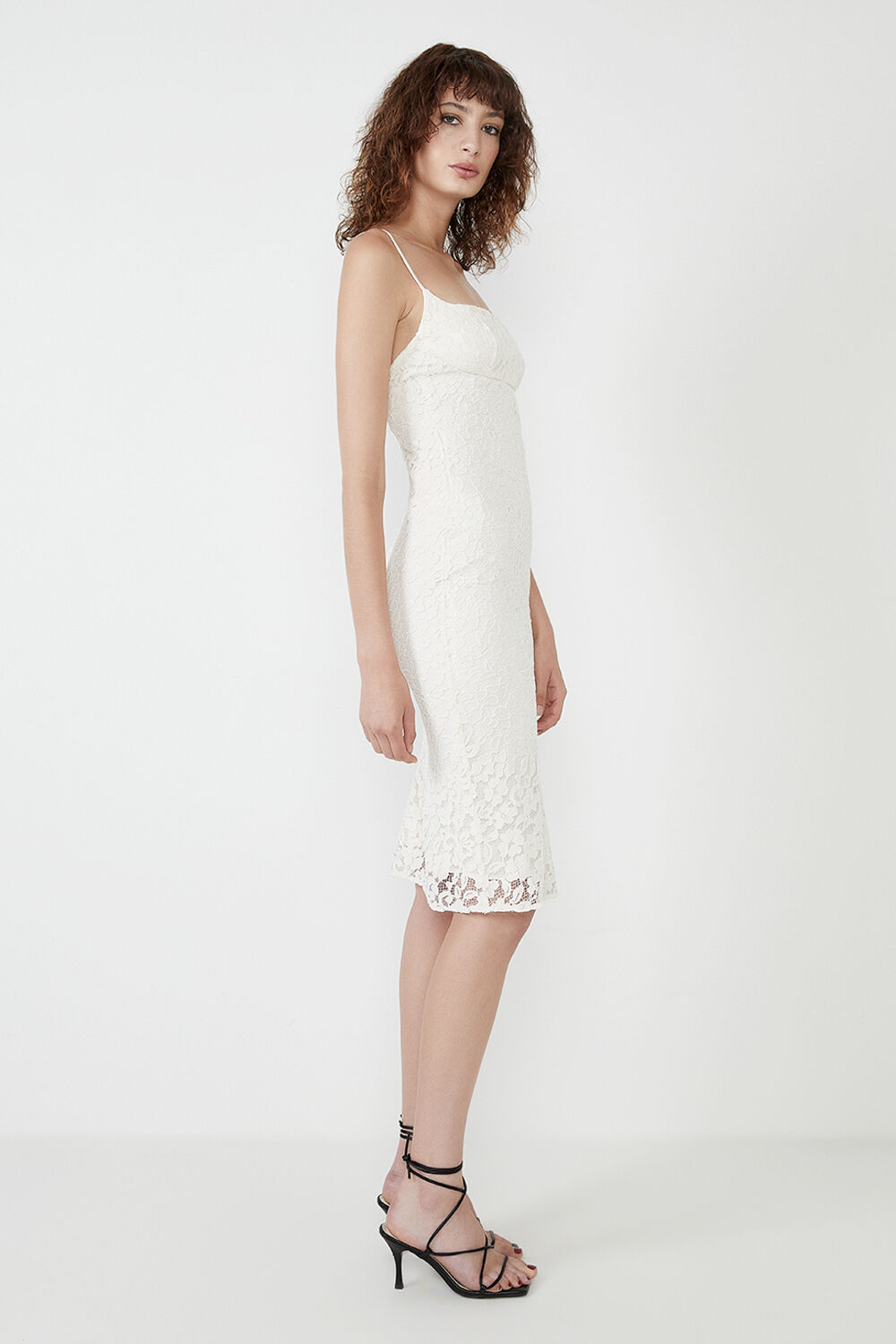 LACE BIAS MIDI DRESS in colour RAINY DAY
