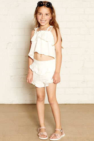 LORENA FRILL TOP in colour CLOUD DANCER