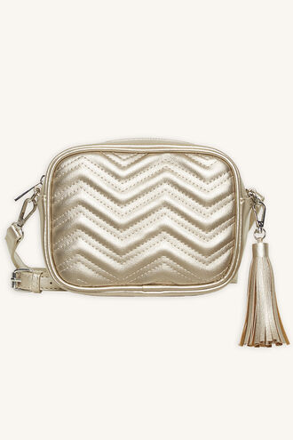 METALLIC QUILTED HIP BAG in colour GOLD EARTH