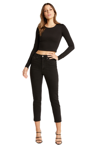BRIA LONG SLEEVE CROP TOP in colour CAVIAR