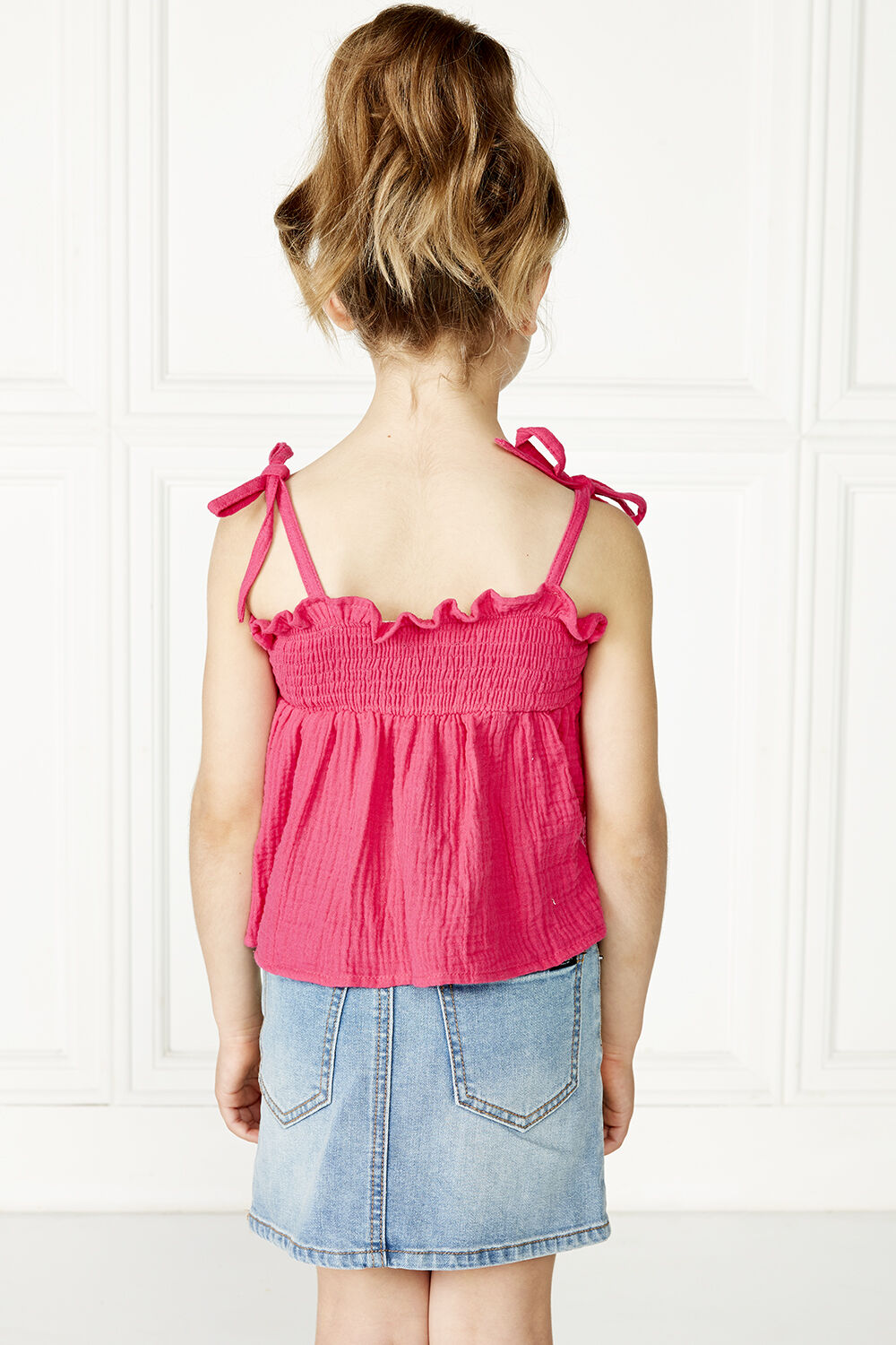 NORA SHIRRED TOP in colour SHOCKING PINK