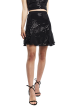 FLIPPY SEQUIN SKIRT in colour CAVIAR