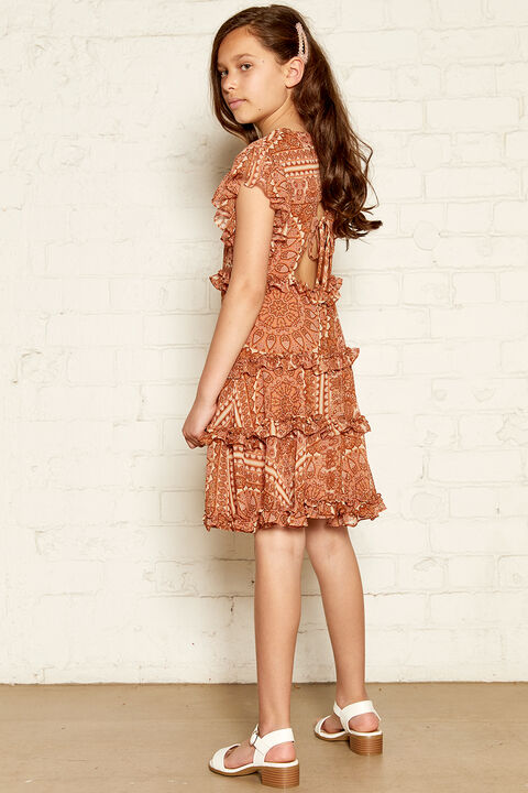 MARYAM FRILL DRESS in colour MUTED CLAY