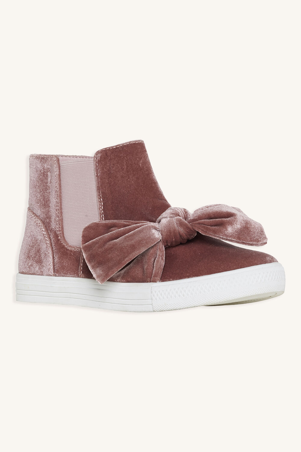 VELVET KNOT BOW ANKLE BOOT in colour DUSTY PINK