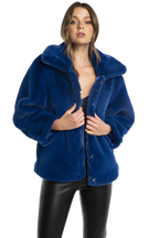 PIA FUR BOMBER in colour BLUE DEPTHS