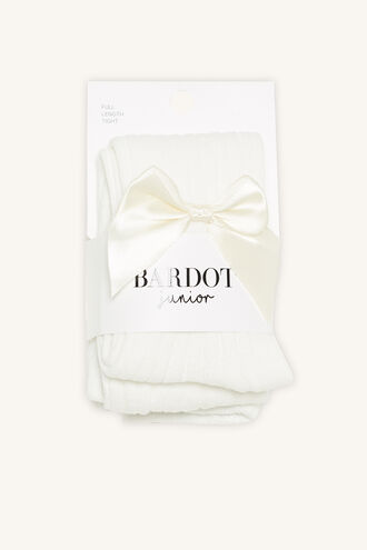 BABY BOW RIBBED TIGHTS in colour WHITE ALYSSUM