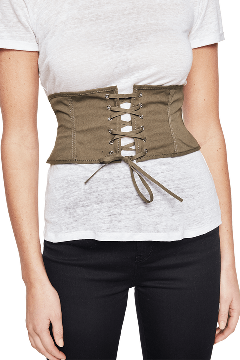 CORSETRY LACE UP BELT in colour GREEN ASH