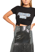 PLEATED SEQUIN SKIRT in colour GLACIER GRAY