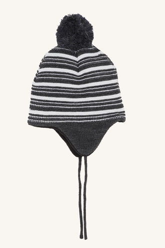 STRIPED BEANIE in colour LIGHT GRAY