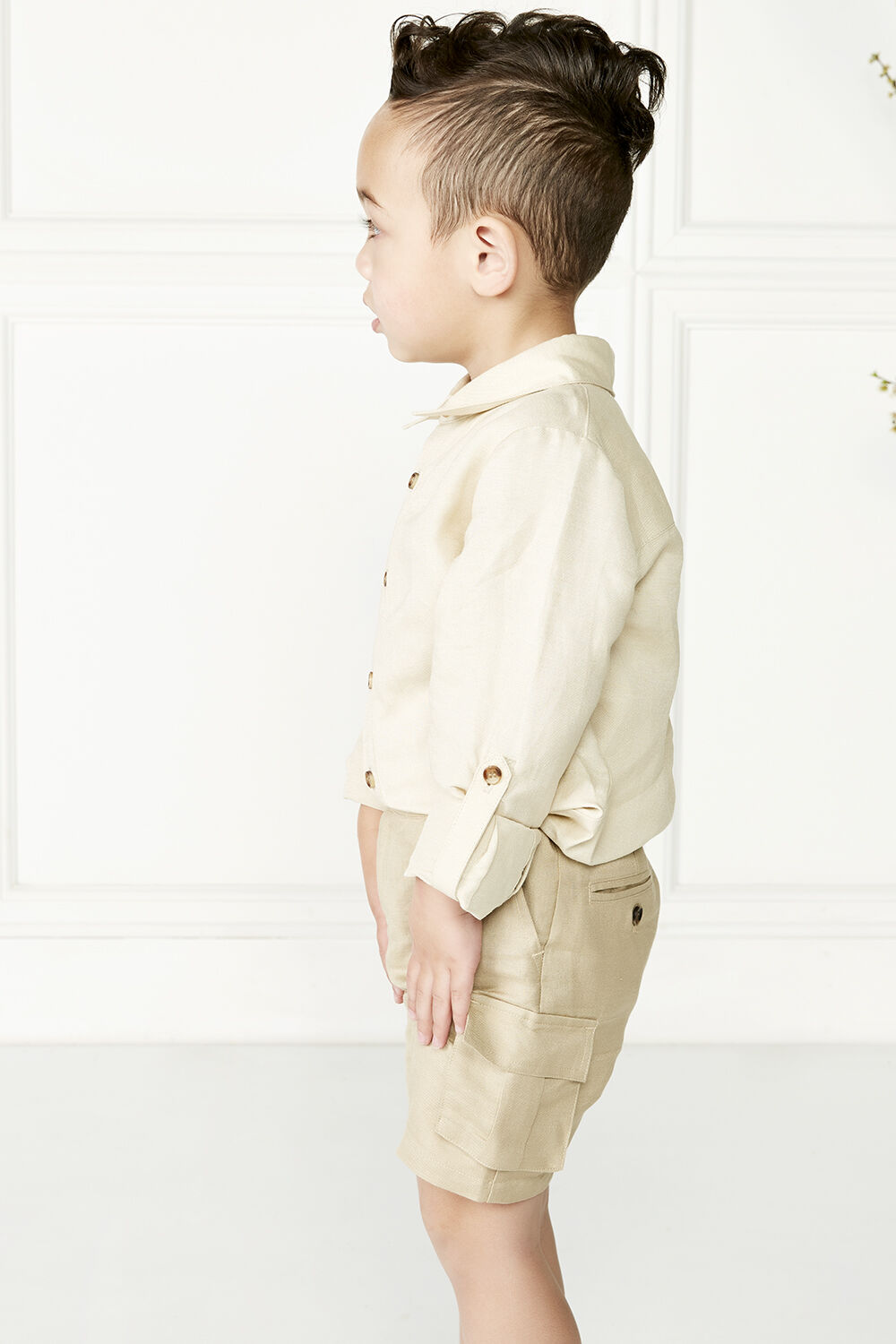 THEO LINEN SHIRT in colour BIRCH