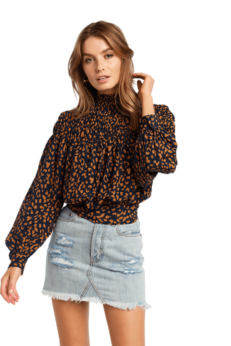 EDITA LEOPARD BLOUSE in colour NAVY BLAZER