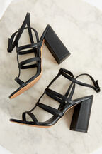 CAGED LEATHER  STRAP HEEL in colour CAVIAR