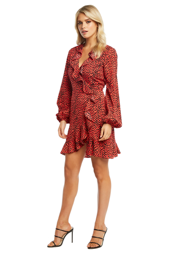 NORA WRAP DRESS in colour TOMATO