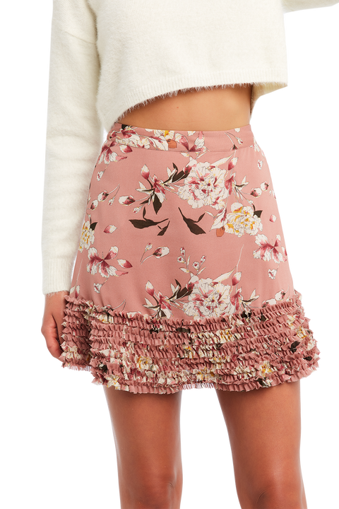 FLORAL FRILL SKIRT in colour PINK NECTAR