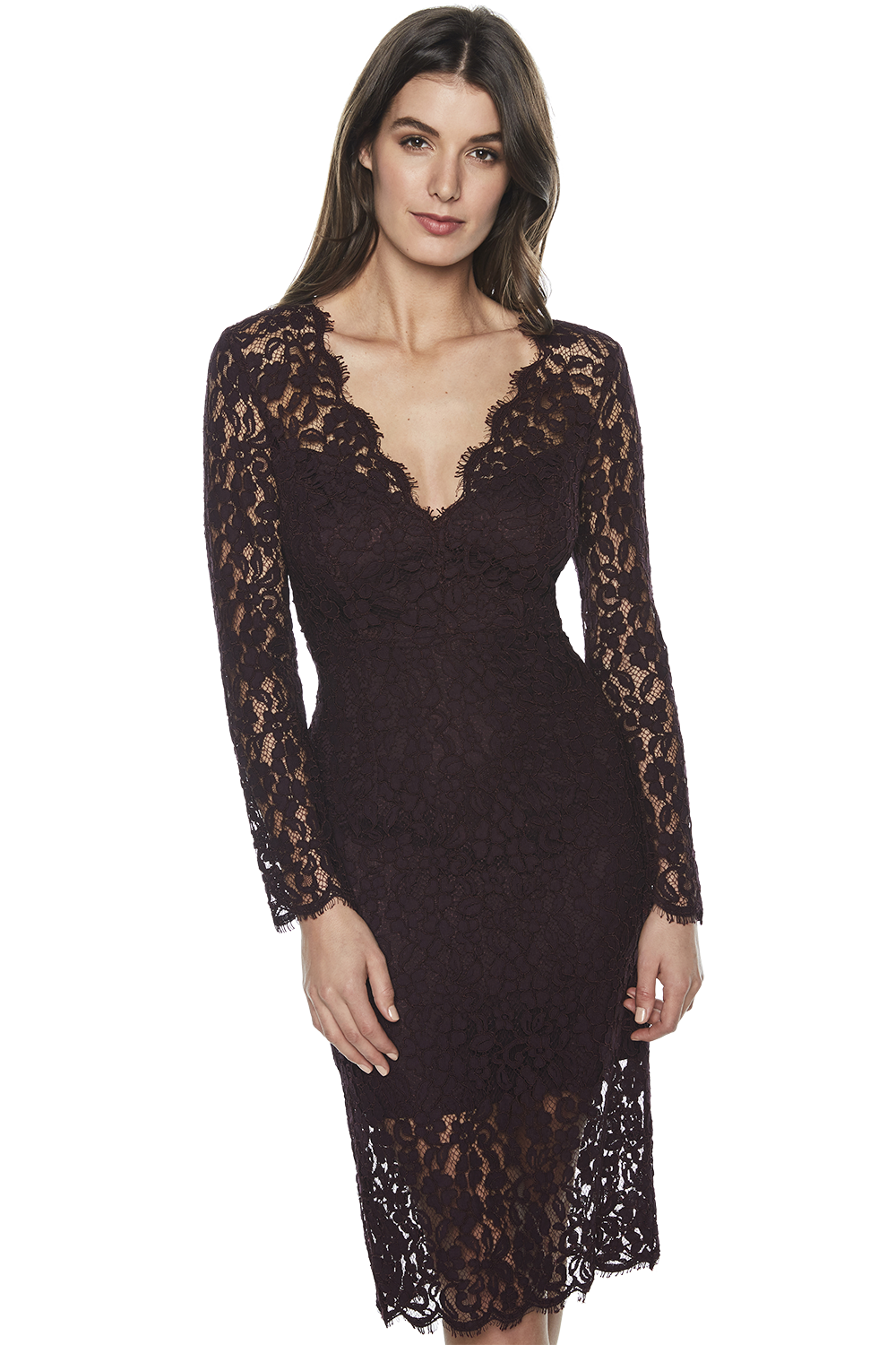 MIDNIGHT LACE DRESS in colour WINETASTING