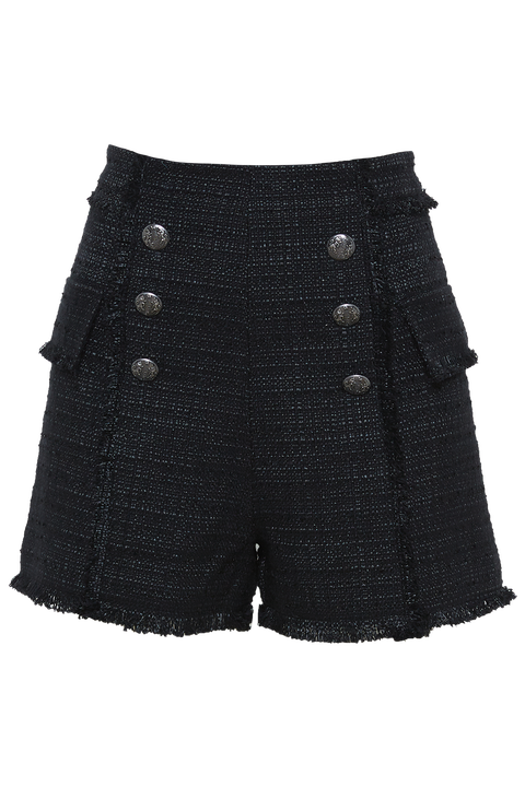 BOUCLE BUTTON SHORT in colour CAVIAR