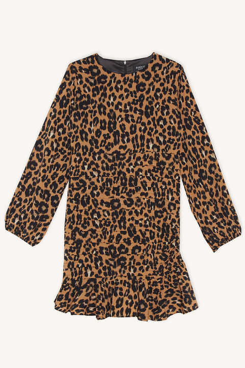 ADA LEOPARD DRESS in colour LATTE