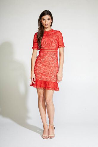 THEODORA LACE DRESS in colour FIESTA