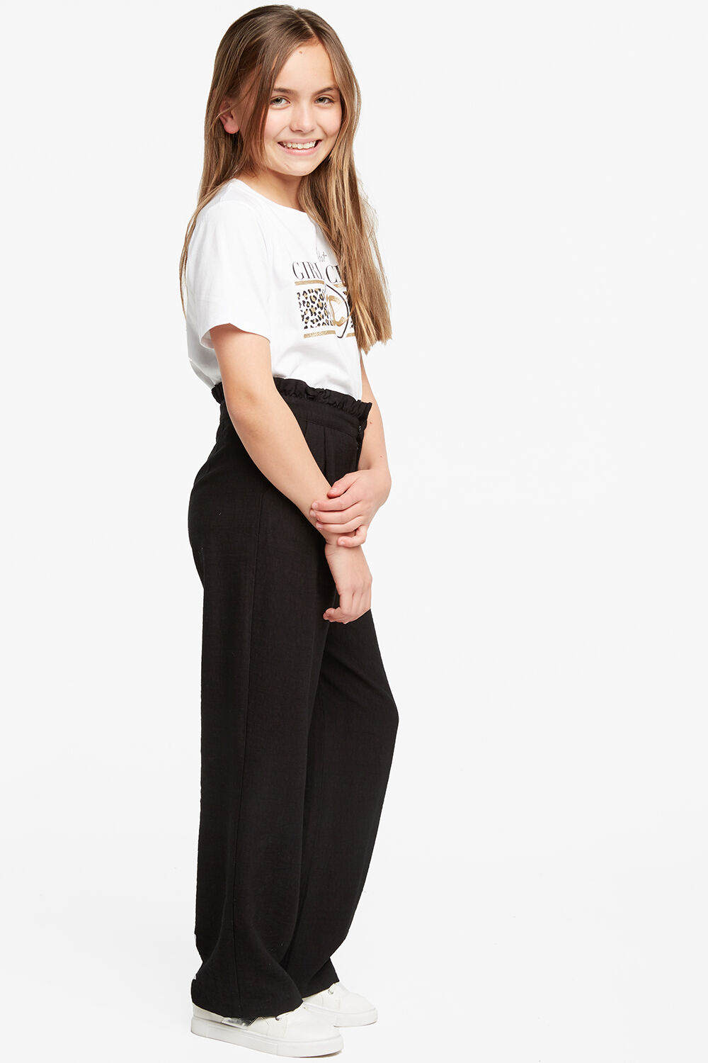 tween girl NATALIE CULLOTE PANT in colour CAVIAR