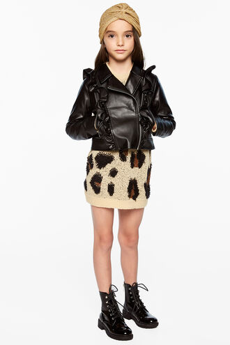 CHLOE PU RUFFLE JKT in colour CAVIAR