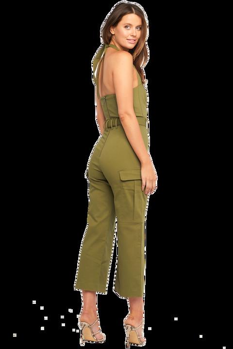 HALTER NECK JUMPSUIT in colour DUSKY GREEN