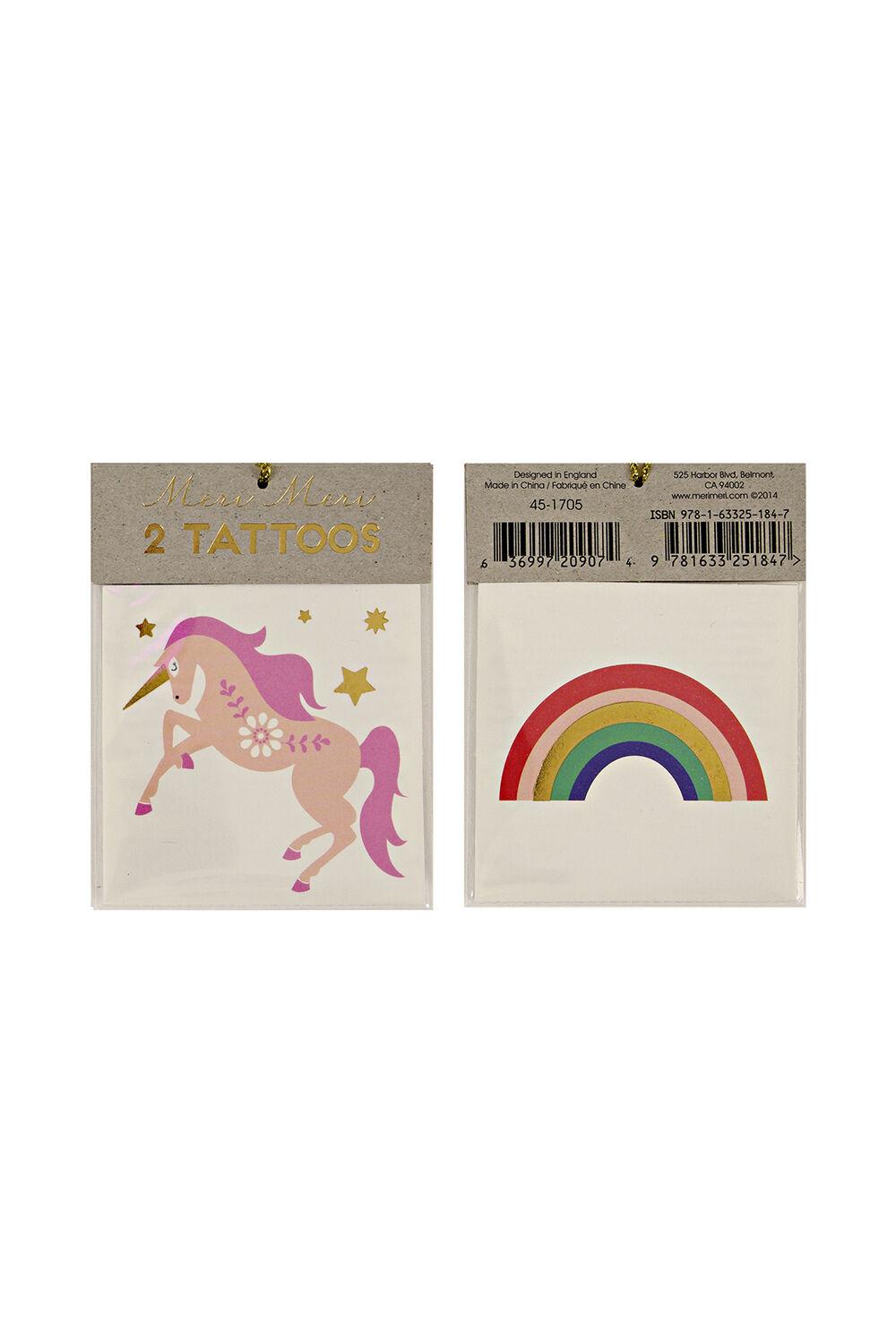 Tattoos - Unicorn & Rainbow in colour BRIGHT WHITE