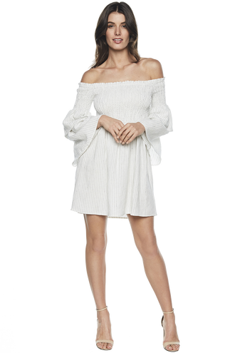 NUNO SHIRRED DRESS in colour BRIGHT WHITE