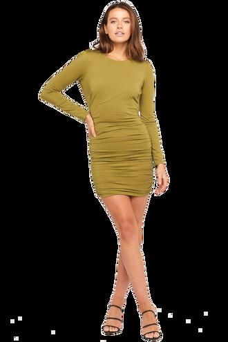 ELENA DRESS in colour OLIVE DRAB