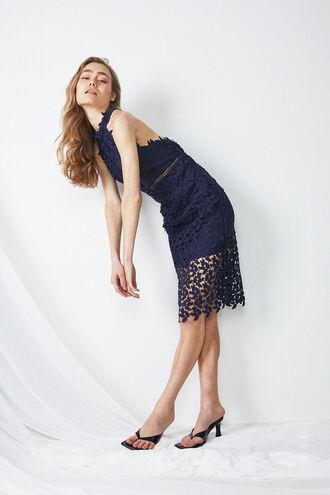 GEMMA HALTER DRESS in colour BLACK IRIS