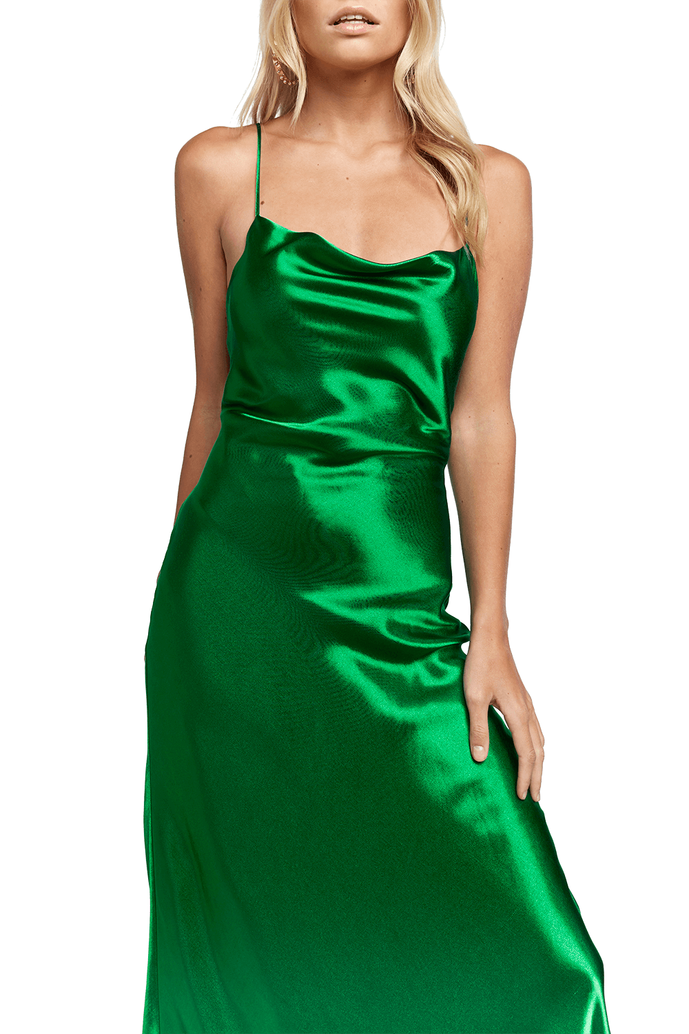 ESTELLE DRAPE MAXI DRESS in colour CLASSIC GREEN