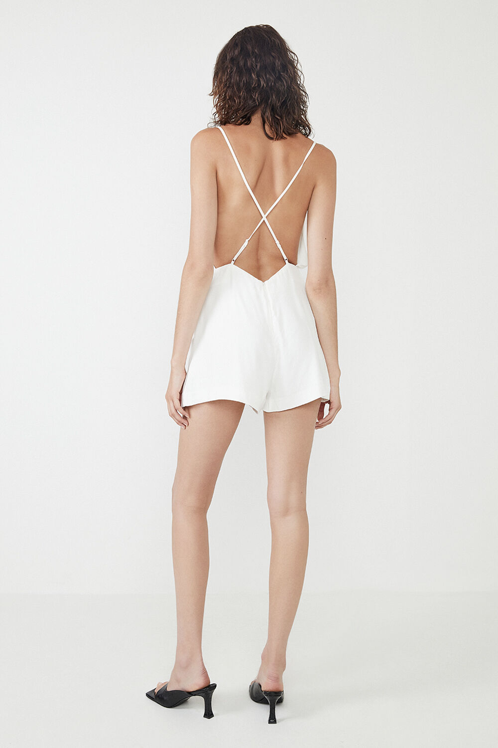 CINDY SLIP BACKLESS ROMPER in colour CLOUD DANCER