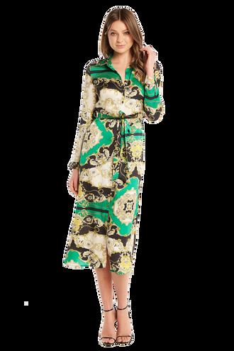 SCARF PRINT SHIRT DRESS in colour CLASSIC GREEN