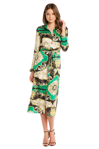 8299dfbaf2 SCARF PRINT SHIRT DRESS in colour CLASSIC GREEN