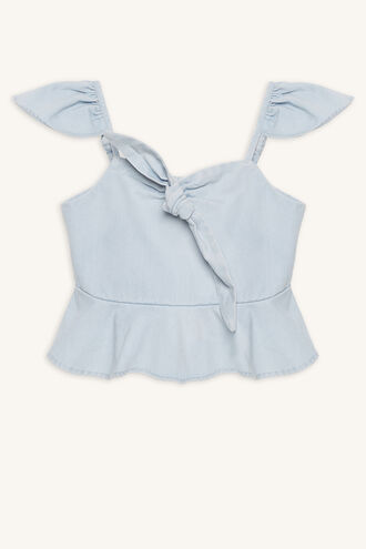 CHARLOTTE TIE TOP in colour CASHMERE BLUE