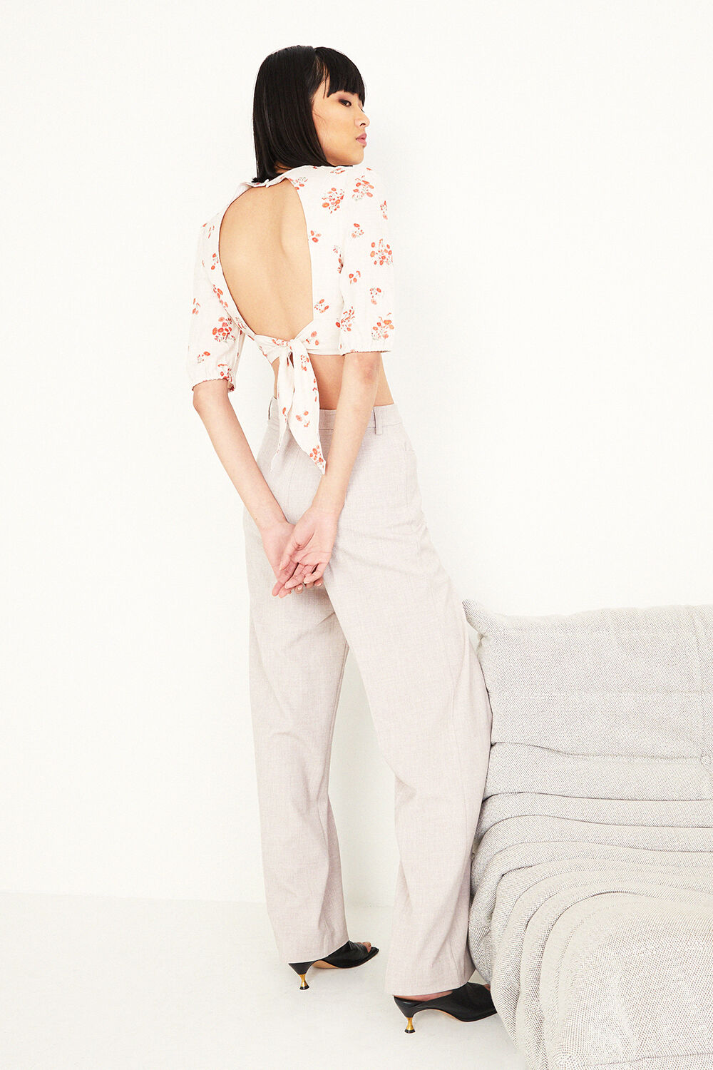 PRINTED TIE BACK TOP in colour PEARLED IVORY